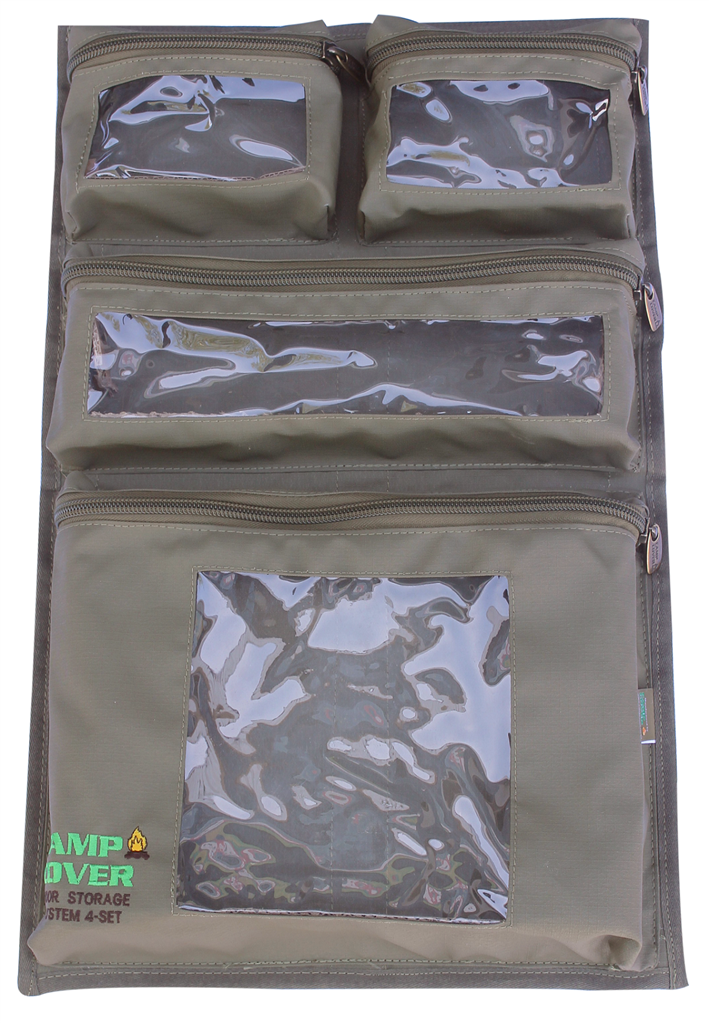Camp Cover Door Storage System with four clear pockets and velco khaki