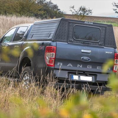 Alu-Cab Canopy Adventure Ford Ford Ranger 2012+ D/Cab black/ tread plate