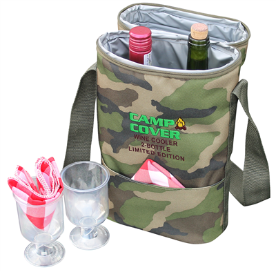 Camp Cover Cooler Two Bottles, camouflage