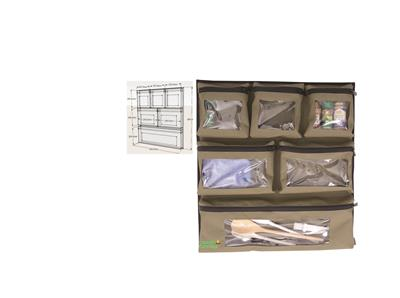 Camp Cover Door Storage System with six clear pockets and velcro khaki