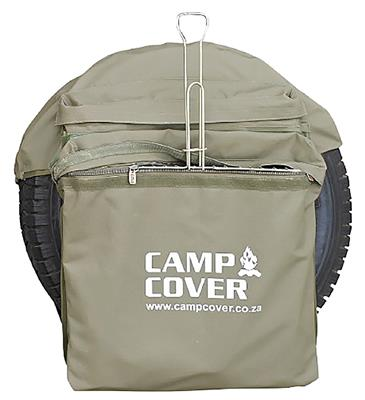 "Camp Cover Wheel Bin Safari Style 31"" with two bags, khaki"